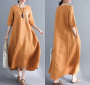 Women's large Summer of 2018 Ginger red Large XL Large XXL large L large M Dress singleton  easy moderate Socket elbow sleeve Crew neck Medium length