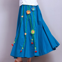 skirt Summer 2017 Average size White, black, rose, peacock blue commute A-line skirt Type A 6072# 81% (inclusive) - 90% (inclusive) Other / other cotton Embroidery ethnic style