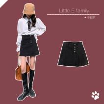 skirt Spring 2021 S,M,L,XL Blue, black Short skirt commute High waist A-line skirt Solid color Type A 18-24 years old 71% (inclusive) - 80% (inclusive) Denim cotton Button Korean version