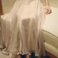 skirt Spring 2021 longuette Versatile Natural waist Ruffle Skirt Type A Chiffon nylon