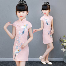 cheongsam 100,110,120,130,140,150,160 Pink, white, pink long sleeve, pink magnolia, pink lotus, white leaf flower, white safflower, white orchid bamboo leaf, pink cotton, straight Pink Long sleeve, pink swing Cotton 20% others 80% There are models in the real shooting No season Solid color other X10