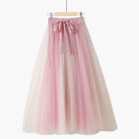 skirt Summer 2021 One size elastic waist Mid length dress Versatile High waist Splicing style Solid color Type A 18-24 years old 020190814-01 71% (inclusive) - 80% (inclusive) other Thua polyester fiber Bowknot, three-dimensional decoration, asymmetry, bandage, gauze net, splicing, lace