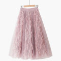 skirt Summer 2021 One size elastic waist Retro pink [fringed skirt], blue [fringed skirt], apricot [fringed skirt], black [fringed skirt], white [fringed skirt] longuette Retro High waist Splicing style Solid color Type A 18-24 years old 020181209-01 71% (inclusive) - 80% (inclusive) Lace Thua other