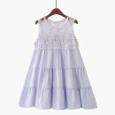 Dress Summer 2020 Retro Blue [lace skirt], white [lace skirt], pink [lace skirt], black [lace skirt] Average size Middle-skirt Sleeveless commute Crew neck Loose waist Solid color Socket A-line skirt 18-24 years old Korean version Gouhua, hollow out, stitching, lace 020180601-02 Lace cotton