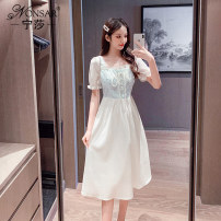 Dress Summer 2021 Yellow blue S M L XL Mid length dress singleton  Short sleeve commute square neck middle-waisted Decor Socket A-line skirt routine Others 18-24 years old Type A Nonsar / ningsa Korean version Lace up NSB04596513 81% (inclusive) - 90% (inclusive) other polyester fiber