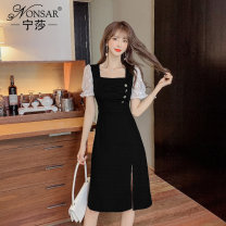 Dress Summer 2021 black S M L XL XXL Short skirt other Short sleeve commute square neck High waist other zipper A-line skirt other Others 25-29 years old Nonsar / ningsa Korean version Stitching beads NSA0488613 81% (inclusive) - 90% (inclusive) other polyester fiber Polyester 90% other 10%