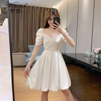 Dress Summer 2021 White black M L Middle-skirt singleton  Short sleeve commute square neck middle-waisted Solid color Socket A-line skirt puff sleeve Others 18-24 years old Type A Nonsar / ningsa Korean version NSB04SP1118310 81% (inclusive) - 90% (inclusive) other polyester fiber