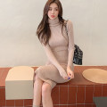 Dress Winter 2020 khaki S,M,L longuette singleton  Long sleeves commute High collar High waist Solid color Socket One pace skirt routine Others 25-29 years old Type H Ol style 866Q 31% (inclusive) - 50% (inclusive) knitting