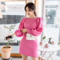 Dress Winter 2020 Pink S,M,L Short skirt singleton  Long sleeves commute Crew neck High waist Solid color Socket One pace skirt routine 25-29 years old Type H Ol style 2W knitting