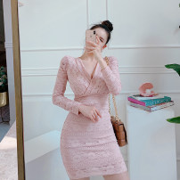 Dress Winter 2020 Pink S,M,L,XL Middle-skirt singleton  commute V-neck High waist Solid color zipper One pace skirt routine 25-29 years old Type H Ol style Lace