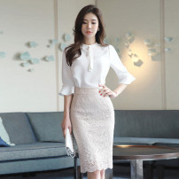 Dress Summer 2020 White, light pink, white + light pink S,M,L,XL Middle-skirt Two piece set elbow sleeve commute Crew neck High waist Solid color zipper One pace skirt routine 25-29 years old Type H Other / other Ol style Ruffles, stitches, lace W263 Chiffon