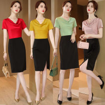 Dress Summer 2020 Red, green, yellow, peach pink S,M,L,XL,2XL,3XL Mid length dress singleton  Short sleeve commute Pile collar High waist Solid color zipper A-line skirt routine Others Type A Ol style Panel, zipper 31% (inclusive) - 50% (inclusive)
