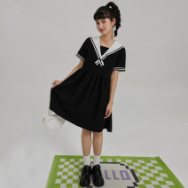 Dress Summer 2021 Black taro purple S M L Mid length dress singleton  Short sleeve commute Admiral middle-waisted Socket A-line skirt routine Others 18-24 years old Type A You give Sticking cloth EG21036067 71% (inclusive) - 80% (inclusive) polyester fiber Pure e-commerce (online only)