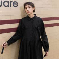 Dress Spring 2021 Taro purple black S M Mid length dress singleton  Long sleeves commute square neck Loose waist other Single breasted Pleated skirt routine Others 18-24 years old Type A You give pocket EG21035769 More than 95% cotton Cotton 100% Pure e-commerce (online only)