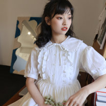 Dress Summer 2021 white S M L Mid length dress singleton  Short sleeve commute Doll Collar other A-line skirt puff sleeve Others 18-24 years old Type A You give Lotus leaf edge EG21036047 More than 95% cotton Cotton 100% Pure e-commerce (online only)