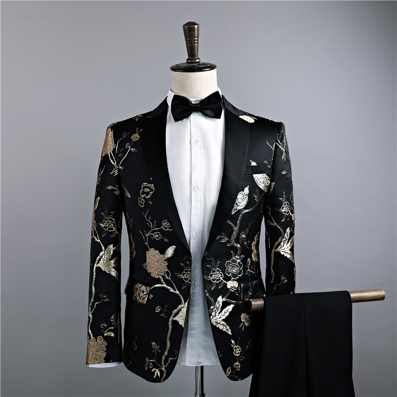 Suit Youth fashion Others Black embroidery - Blazer 165 / s-high 165-170 weight 53-57kg 170 / m-high 170-175 weight 60-65kg 175 / l-high 175-178 weight 67-72kg 180 / xl-high 178-180 weight 75-80kg 185 / xxl-high 182-185 weight 80-85kg routine Back middle slit Flat lapel Four seasons Self cultivation