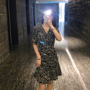 Dress Summer 2020 black S,M,L Short skirt singleton  elbow sleeve commute V-neck High waist puff sleeve Type H Other / other Korean version F053