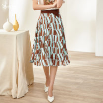 skirt Summer 2021 S M L XL XXL Coffee / pre-sale to April 24 Mid length dress commute High waist A-line skirt other Type A 35-39 years old 1M21BI1085 More than 95% other Mi Siyang polyester fiber Zipper printing lady Polyester 100% Same model in shopping mall (sold online and offline)