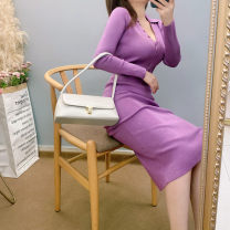 Dress Winter 2020 Purple, autumn green, rubber powder Average size Mid length dress singleton  Long sleeves commute Polo collar High waist Solid color Socket One pace skirt routine Type A 81% (inclusive) - 90% (inclusive) knitting