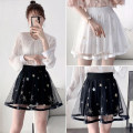 skirt Spring 2020 S,M,L,XL,2XL Short skirt commute High waist Fluffy skirt Solid color Type A 18-24 years old other Sequins, gauze Korean version