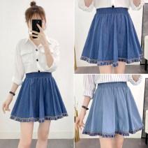 skirt Summer 2020 S,M,L,XL Short skirt commute High waist Pleated skirt Solid color Type A 18-24 years old Denim tassels Korean version