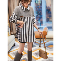 shirt One piece grey top Average size Spring 2021 cotton 96% and above Long sleeves commute Medium length Polo collar Single row multi button routine stripe 30-34 years old Straight cylinder Korean version L112609 Button, button
