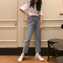 Women's large Summer of 2019, spring of 2019, autumn of 2019 Denim blue S (80-90), m (90-100), l (100-120), XL (120-140), 2XL (140-160), 3XL (160-180), 4XL (180-200) Jeans singleton  commute Straight cylinder moderate Solid color Korean version Denim 18-24 years old Ninth pants