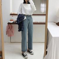 Women's large Autumn of 2019 Denim blue M (recommendation 80-100), l (recommendation 100-120), XL (recommendation 120-140), 2XL (recommendation 140-160), 3XL (recommendation 160-180), 4XL (recommendation 180-200) Jeans singleton  commute Straight cylinder moderate Korean version C-6632 Ninth pants