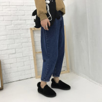 Women's large Spring of 2019 Denim blue M (recommendation 80-100), l (recommendation 100-120), XL (recommendation 120-140), 2XL (recommendation 140-160), 3XL (recommendation 160-180), 4XL (recommendation 180-200) Jeans singleton  commute easy thick Solid color Korean version Over 1061 18-24 years old