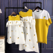 Parent child fashion yellow A family of three Female, male, neutral Other / other summer leisure time routine Cartoon animation cotton L,M,S,XL Class B M,L,XL,XXL 2, 3, 4, 5, 6, 7, 8, 9, 10 years old Chinese Mainland
