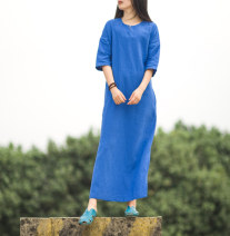 Dress Summer 2020 Red, blue, pink M,L,XL longuette singleton  three quarter sleeve commute Crew neck middle-waisted Solid color Socket A-line skirt raglan sleeve Others Type H Other / other literature Splicing, asymmetric More than 95% brocade hemp