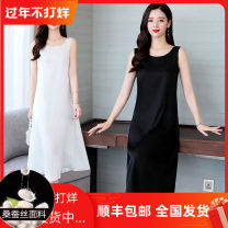 Dress Summer 2020 Black, white, red M,L,XL,2XL,3XL Mid length dress singleton  Sleeveless commute Crew neck High waist Solid color Socket A-line skirt other camisole 40-49 years old Type H Simplicity 91% (inclusive) - 95% (inclusive) silk