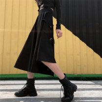 skirt Autumn 2020 M,L,XL Gray, black longuette commute High waist Splicing style Solid color Type A 18-24 years old TB#601891829140 31% (inclusive) - 50% (inclusive) Other / other Korean version