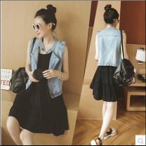 Dress Independent brand S, M Korean version Sleeveless Medium length summer Crew neck Solid color cotton