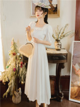 Dress Summer 2020 white S,M,L Mid length dress singleton  Short sleeve commute square neck High waist Solid color zipper A-line skirt puff sleeve Others Type A Retro Splicing