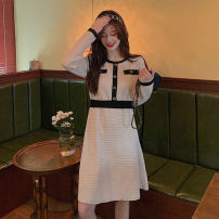 Dress Winter 2020 Black, white, apricot M [80jin-100jin], l [100jin-120jin], XL [120jin-140jin], 2XL [140jin-160jin], 3XL [160jin-180jin], 4XL [180jin-200jin] Mid length dress Fake two pieces Long sleeves commute High collar High waist Solid color Socket A-line skirt routine 18-24 years old Type A