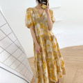 Dress Summer 2020 Yellow, pink Average size longuette singleton  Short sleeve commute V-neck Loose waist Broken flowers Socket other puff sleeve Others 18-24 years old Korean version 31% (inclusive) - 50% (inclusive) other other