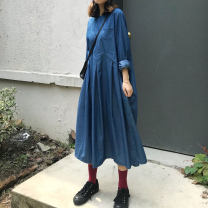Dress Autumn 2020 blue Average size Mid length dress singleton  Long sleeves commute Crew neck Loose waist Solid color Socket other routine Others 18-24 years old Korean version 31% (inclusive) - 50% (inclusive) other other