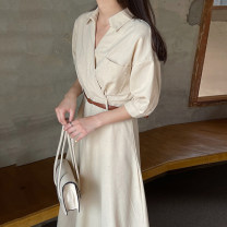 Dress Summer 2021 Black, apricot S,M,L longuette singleton  Short sleeve commute Crew neck High waist Solid color Socket A-line skirt routine Others 18-24 years old Type A Korean version 31% (inclusive) - 50% (inclusive) other other