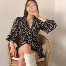 Dress Spring 2021 Picture color Average size Short skirt singleton  Long sleeves commute V-neck High waist Broken flowers Socket puff sleeve Others 18-24 years old Korean version printing 51% (inclusive) - 70% (inclusive) other other