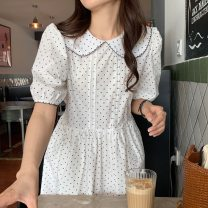Dress Summer 2021 White, dark blue Average size longuette singleton  Short sleeve commute Doll Collar High waist Dot Socket A-line skirt puff sleeve Others 18-24 years old Type A Korean version 31% (inclusive) - 50% (inclusive) other other