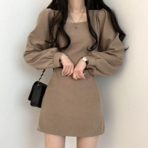 Dress Autumn 2020 Khaki, black S,M,L,XL Short skirt singleton  Long sleeves commute square neck High waist Solid color Socket other puff sleeve Others 18-24 years old Type A Korean version 31% (inclusive) - 50% (inclusive) other other