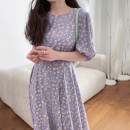 Dress Summer 2021 Navy, black, purple Average size longuette singleton  Short sleeve commute Crew neck Loose waist Broken flowers Socket A-line skirt puff sleeve Others 18-24 years old Type A Korean version 31% (inclusive) - 50% (inclusive) other other