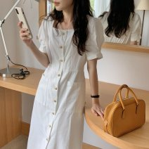 Dress Summer 2021 Yellow, blue, white Average size longuette singleton  Long sleeves commute square neck High waist Solid color Single breasted puff sleeve 18-24 years old Korean version Button 31% (inclusive) - 50% (inclusive) other other