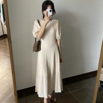 Dress Summer 2020 Apricot, green Average size longuette singleton  Short sleeve commute Crew neck High waist Solid color Socket Big swing bishop sleeve Others 18-24 years old Type A Korean version 31% (inclusive) - 50% (inclusive) other other