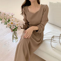 Dress Autumn 2020 Camel S,M,L,XL longuette singleton  Long sleeves commute square neck High waist Solid color Socket other puff sleeve Others 18-24 years old Korean version 31% (inclusive) - 50% (inclusive) other other