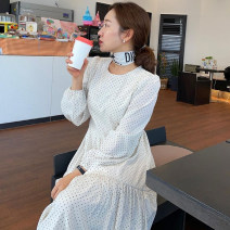 Dress Spring 2021 White, black Average size longuette singleton  Long sleeves commute Crew neck High waist Dot Socket other puff sleeve Others 18-24 years old Type A Korean version 31% (inclusive) - 50% (inclusive) other other