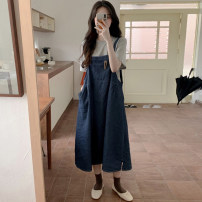 Fashion suit Summer of 2019 Average size Grey T-shirt, denim skirt 18-25 years old 31% (inclusive) - 50% (inclusive)