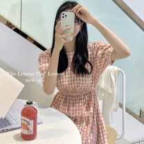 Dress Summer 2021 Green, pink Average size longuette singleton  Short sleeve commute Crew neck High waist lattice Socket other puff sleeve Others 18-24 years old Korean version 31% (inclusive) - 50% (inclusive) other other