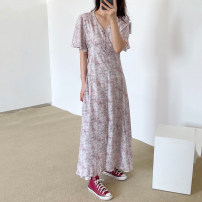 Dress Summer 2021 Pink, apricot Average size longuette singleton  Short sleeve commute V-neck Loose waist Broken flowers Socket other puff sleeve Others 18-24 years old Type A Korean version 31% (inclusive) - 50% (inclusive) other other